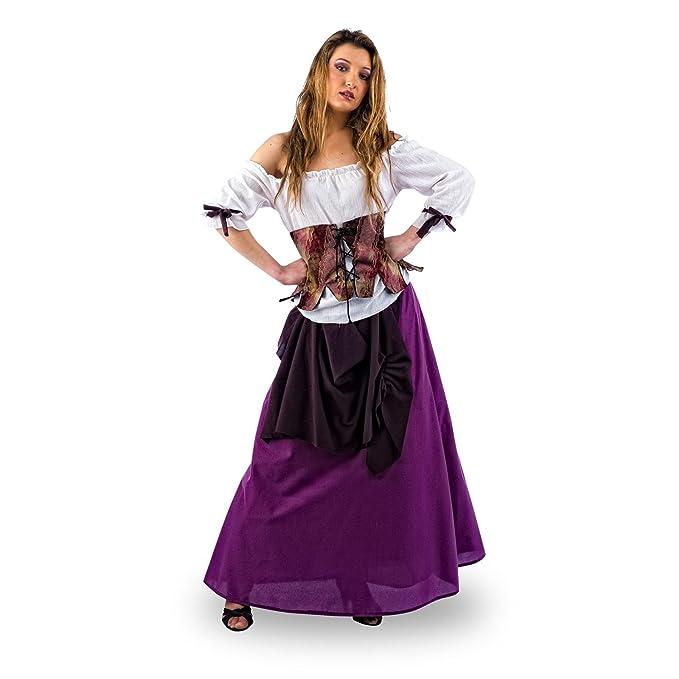 Elbenwald Medieval Maid Disfraz DE Sirviente – Falda Blusa y corpiño