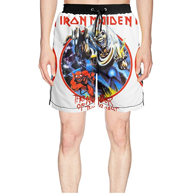 7767c90b92 4 Iron Maiden Logo Nicko McBrain Mens For Surfing Solid Swim Trunk Shorts  Pants