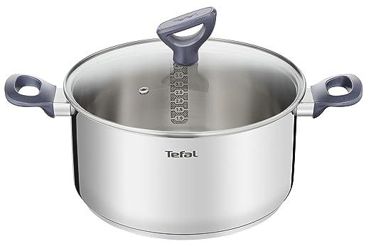 Tefal Daily Cook - Cacerola acero inoxidable con Tapa de 24 cm, 4 Litros, base reforzada, aptas para todo tipo de cocinas incluido inducción, gran ...