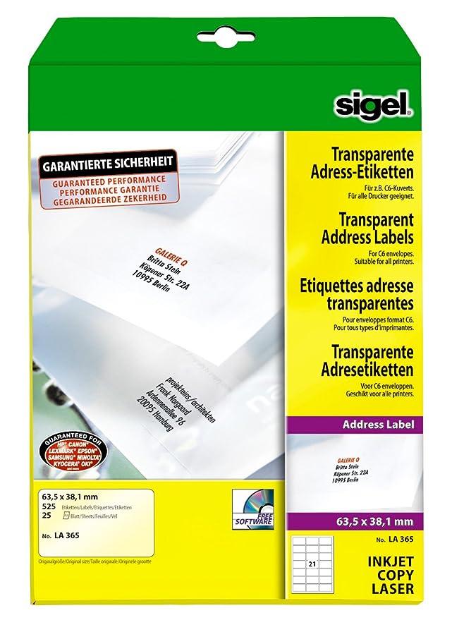 Sigel LA365 Adress-Etiketten transparent, 63,5 x 38,1 mm, 525 ...