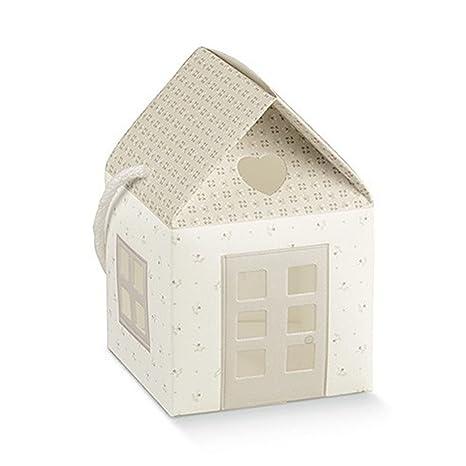 Bellissime cajas Puerta Confetti a forma de caseta con mango – Color Blanco Crema y Pardo