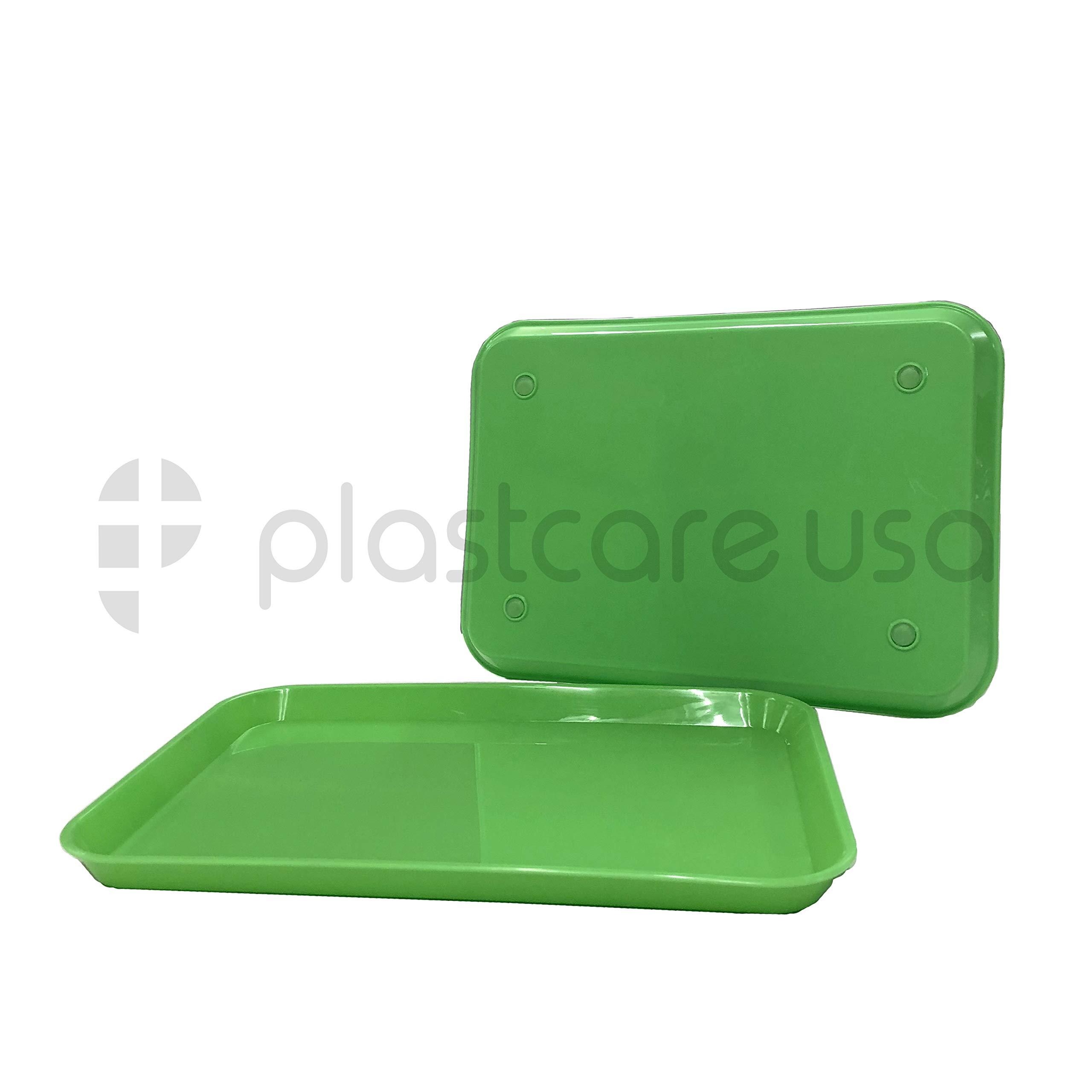 Green Autoclavable Autoclave Plastic Instrument Set Up Procedure Flat Trays, Size B (Pack of 12)