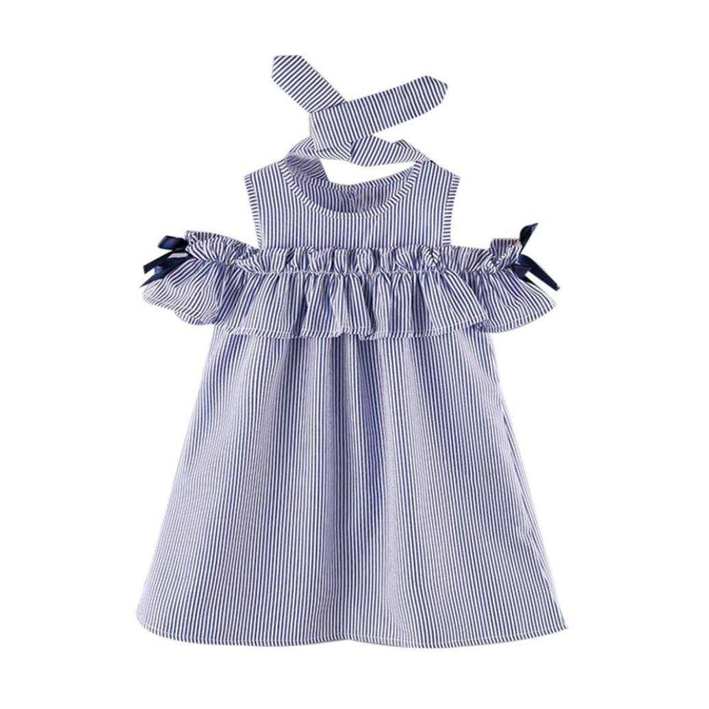 Alalaso Toddler Kids Baby Girl Outfit Clothes Strapless Blue Stripe Dress+Headband Set (15)