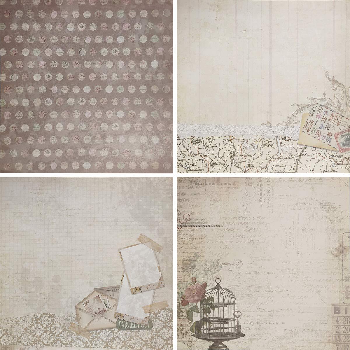 40 Sheets) levylisa 8x8 Cardstock Paper Pad Designer Paper Pad Floral Scrapbook Paper Decorative Craft Paper 007