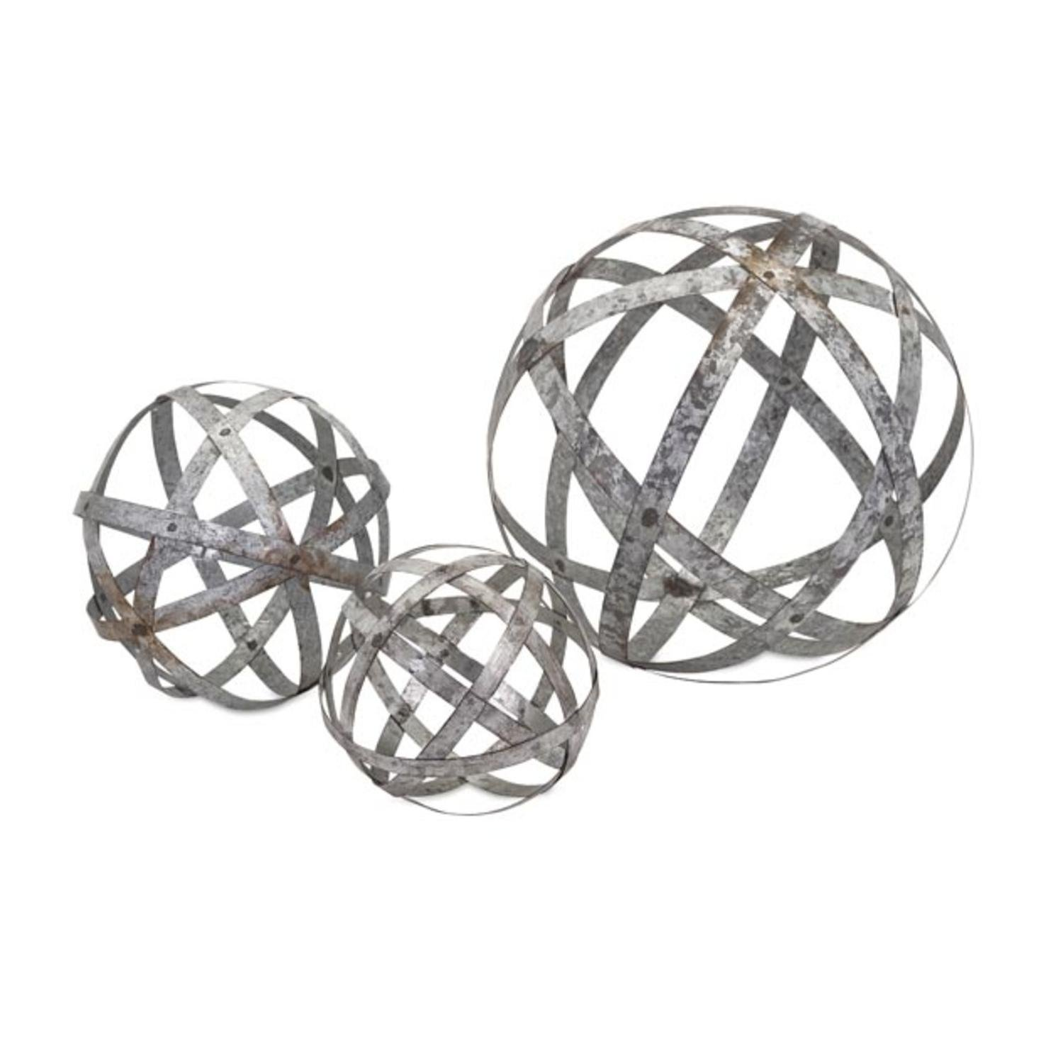 CC Home Furnishings Set of 3 Industrial Chic Rustic Galvanized Metal Round Ball Spheres Table Top Decor 12''