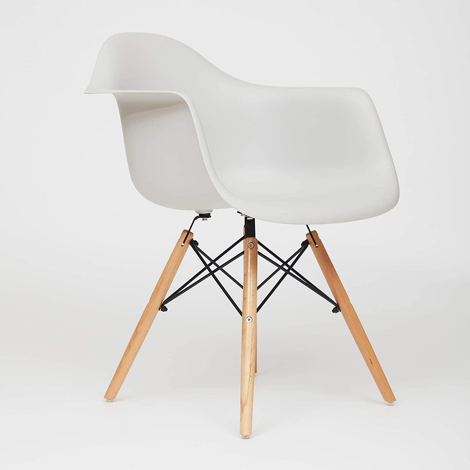 Fusionwell Dining Plastic Armchair with Eiffel Retro Wooden Legs Contemporary Designer Office Kitchen Lounge Bedroom Chair Off White, PP