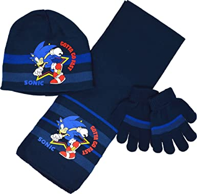 c73f540d576 Sonic The Hedgehog Hat Scarf and Gloves Set Boys Winter Set Ages 2 To 8  Years (4-8 Years (54cm)