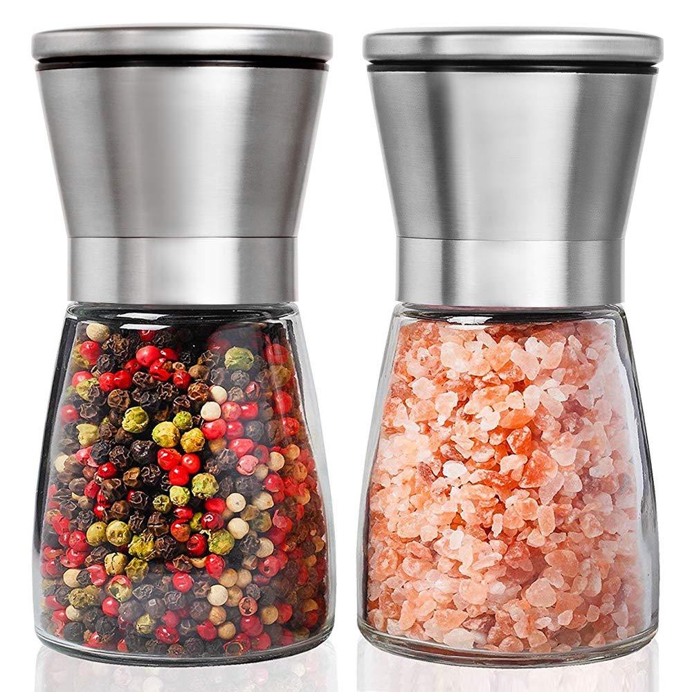 Salz- und Pfeffermühle Set, Henshow 2er Pack Premium Bürste Edelstahl Salz- und Pfeffermühle Set und Glaskörper Salz und Pfefferstreuer mit einstellbarer Keramik Grobigkeit zum Kochen Grillen