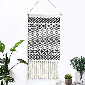 LOMOHOO Macrame Woven Wall Hanging Tapestry Boho Chic Wall Decor Geometric Art Bohemian Decoration for Apartment Home Dorm Room Backdrop (Morocco)