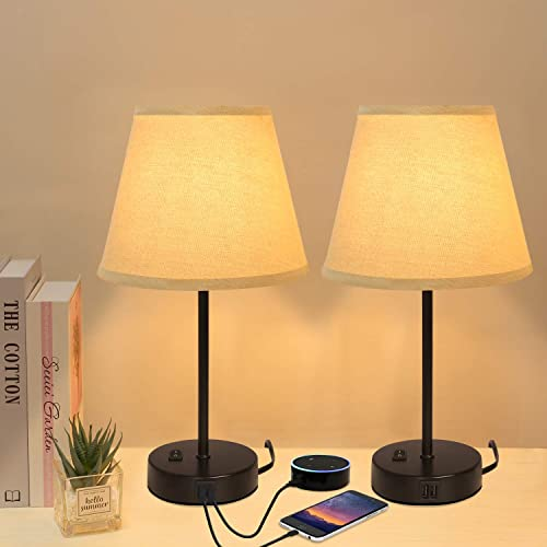 Innqoo Dual USB Table Lamp, Bedside Lamps Set of 2 with Fabric Shade, Small Nightstand Lamps for Bedroom, Living Room, Home, Offic, College Dorm