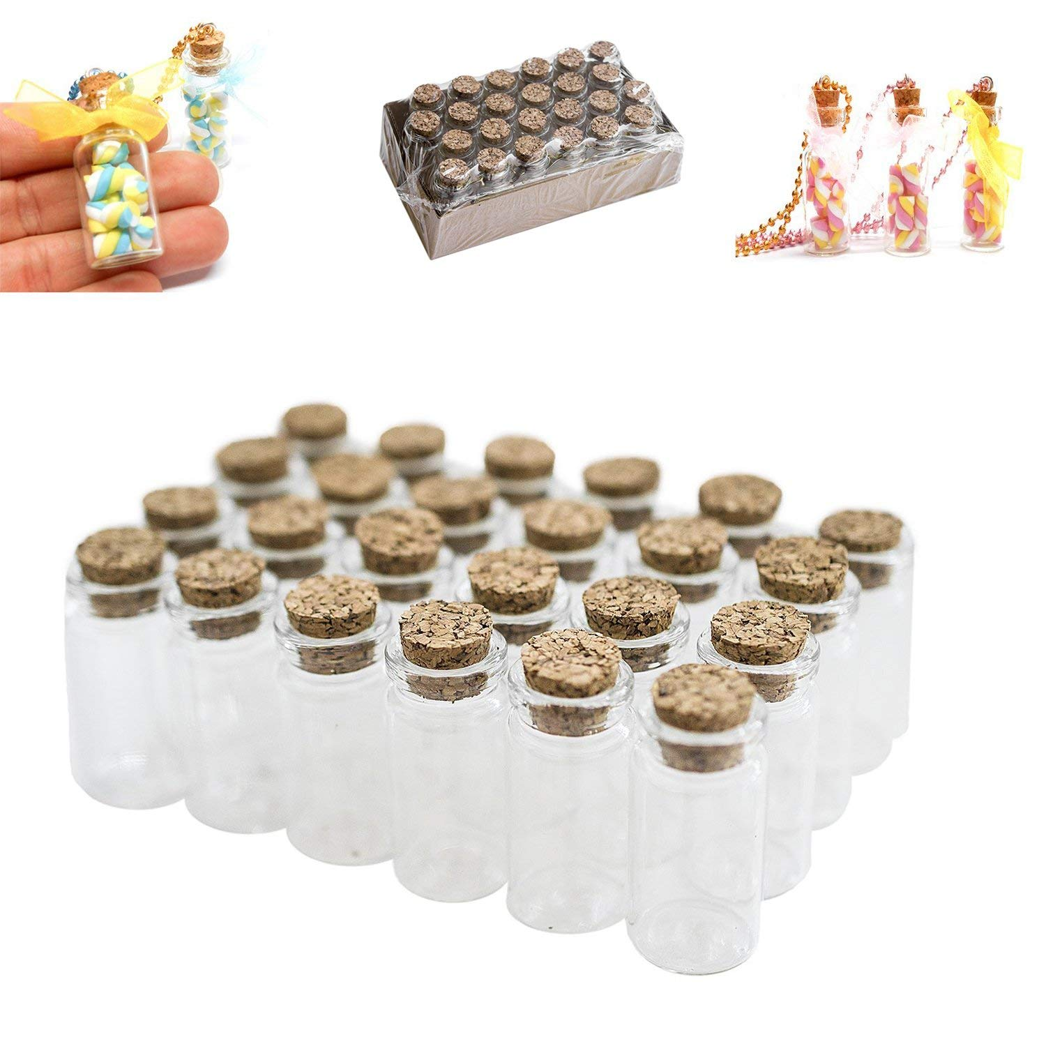 """Mini Clear Glass Jars Bottles with Cork Stoppers for Arts & Crafts, Projects, Decoration, Party Favors - Size: 1-1/2"""" Tall X 3/4 Inches Diameter (24)"""