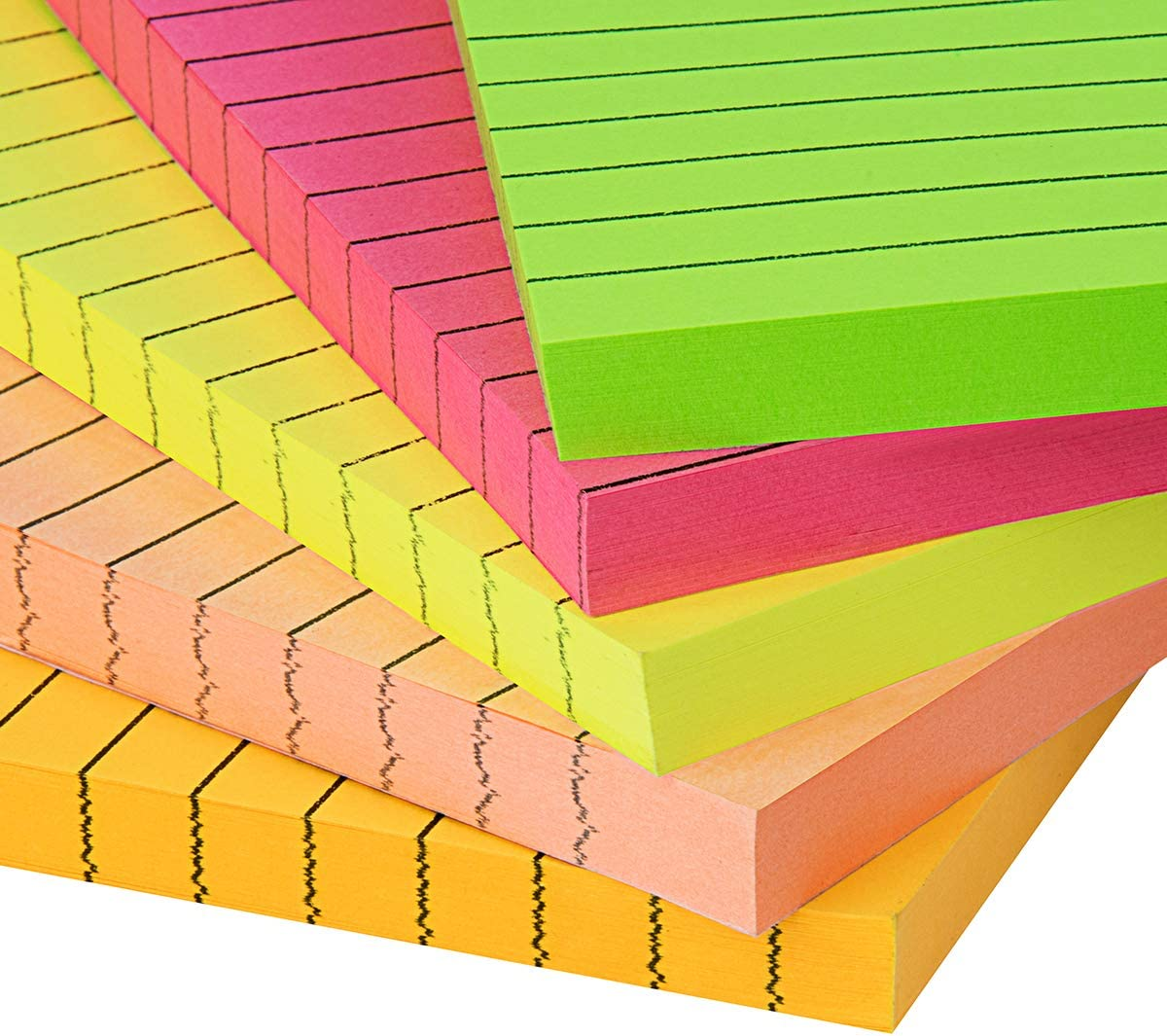 4 x 6 50 Sheets//Pad ZCZN 5 Bright Color Lined Sticky Notes 5 Pads//Pack