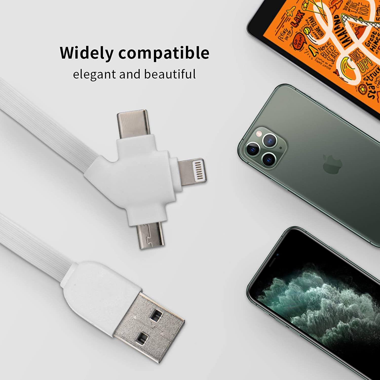 Cute Dear Trees Forestthe Square Three-in-One USB Cable is A Universal Interface Charging Cable Suitable for Various Mobile Phones and Tablets