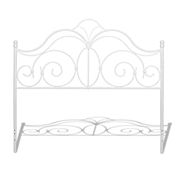 rhapsody metal headboard with curved grill design and finial posts glossy white finish queen
