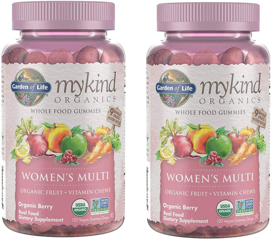 MyKind Organics Women's Multi Whole Food, Organic Vitamin Chews in Delicious Organic Berry (120 Vegan Gummy Drops) Pack of 2