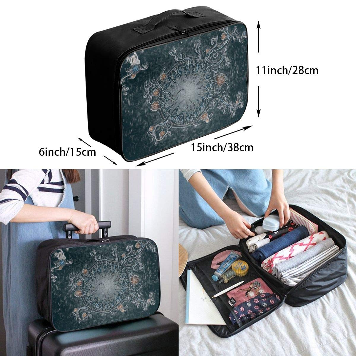Travel Luggage Duffle Bag Lightweight Portable Handbag Abstract Psychedelic Pattern Large Capacity Waterproof Foldable Storage Tote