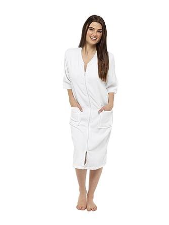 Womens Cotton Zip Up Bath Robe Dressing Gown Velour Bathrobe