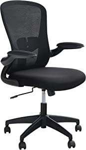 ALPHA HOME Ergonomic Office Chair Mid Back Computer Desk Chair with Flip-up Tufted Armrest Executive Adjustable Chair with Lumbar Support Breathable Mesh Rolling Swivel Chair with Casters, Black