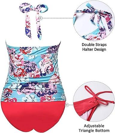 Traje de ba/ño de Maternidad Verano Mae tri/ángulo Halter Bikini Rosa//Impreso Medium