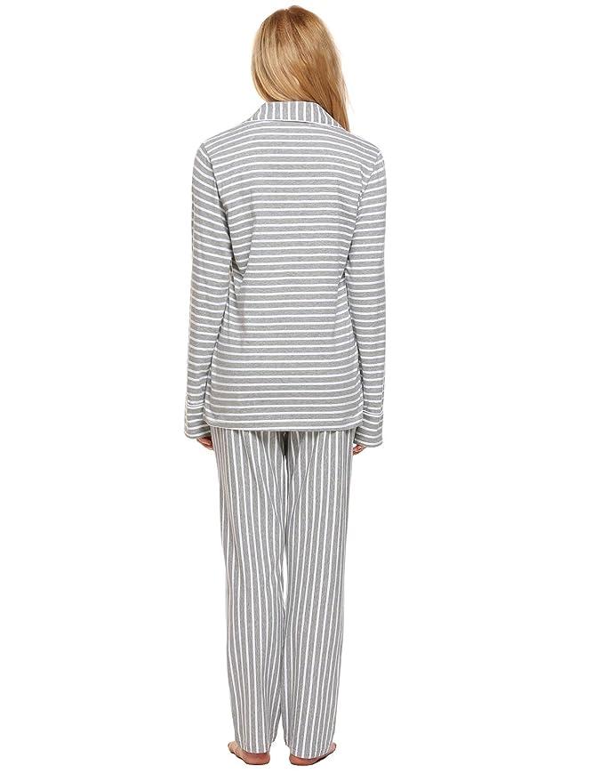 94e570c704 Langle Womens Striped Pjs Cotton Pajama Set Long Sleeve Sleepwear Nightgowns  XS-XXL at Amazon Women s Clothing store