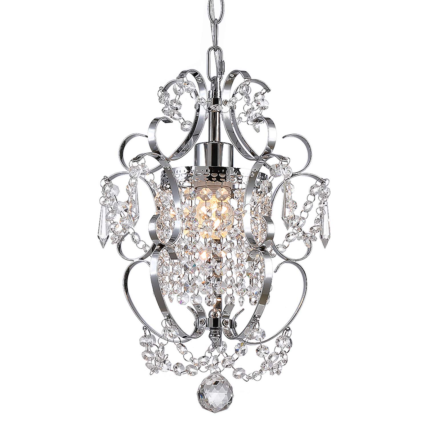 Riomasee Mini Chandelier,Crystal Chandeliers Lighting,Modern Elegant Crystal Pendant Iron Ceiling Light Fixture for Bathroom,Girls Room,Living Room 1-Light Chrome