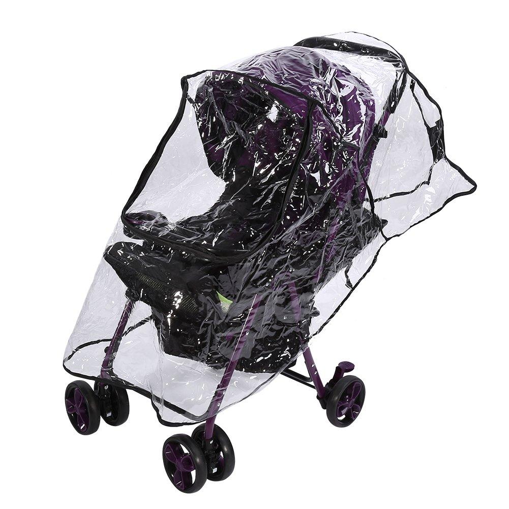 Housse Poussette Pluie confort bébé universel pour Landau PVC Imperméable à L'Eau Vent à L'épreuve Poussière Parapluie Couverture Accessoire Fermeture éclair Fdit