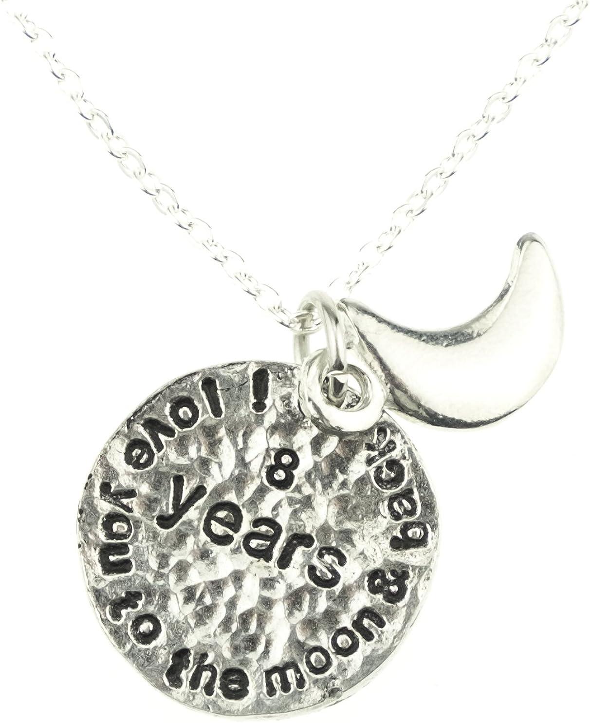 Unique 8th Anniersary Gift Idea Pirantin I Love You to The Moon and Back 8th Wedding Anniversary Necklace