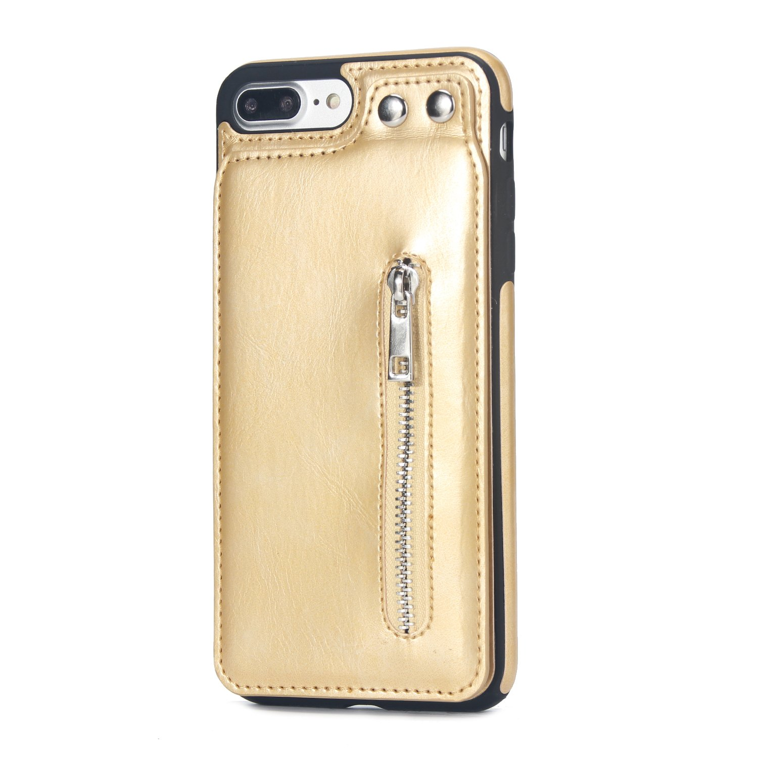 Case for iPhone 7 Plus/iPhone 8 Plus Flip Case Premium PU Leather Wallet Cover with Card Holder Money Pocket Durable Shockproof Protective Cover for iPhone 7/8 Plus,Gold by ikasus