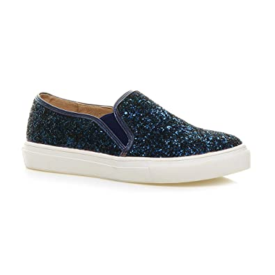 5b684f0f259 Womens Ladies Casual Slip on Glitter Plimsolls Pumps Trainers Shoes Size 3  36