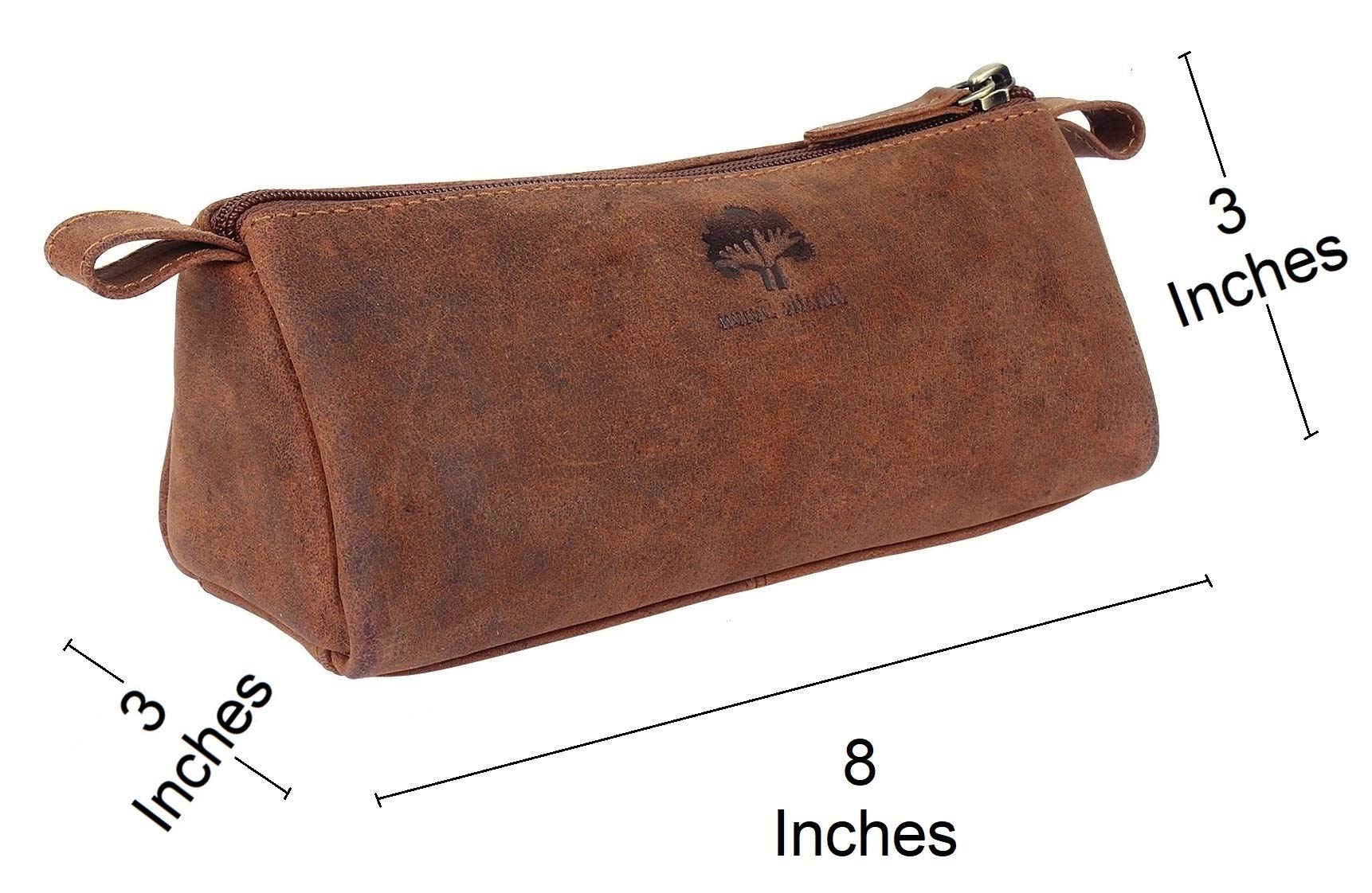 Leather Pencil Case - Zippered Pen Pouch for School, Work & Office by Rustic Town by RusticTown (Image #2)