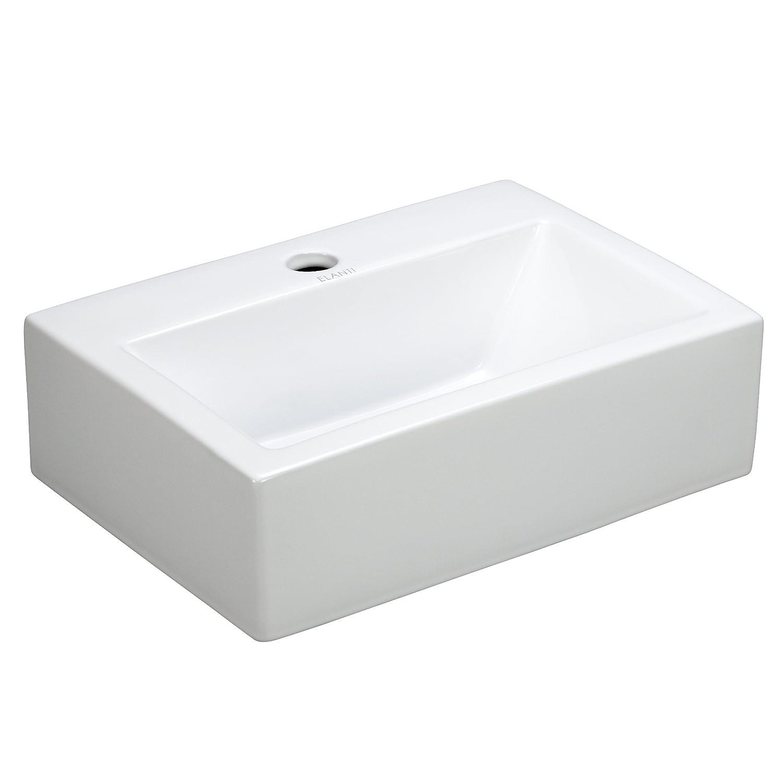 Elite Sinks EC9859 Porcelain Wall Mounted Rectangle Sink, White   Vessel  Sinks   Amazon.com