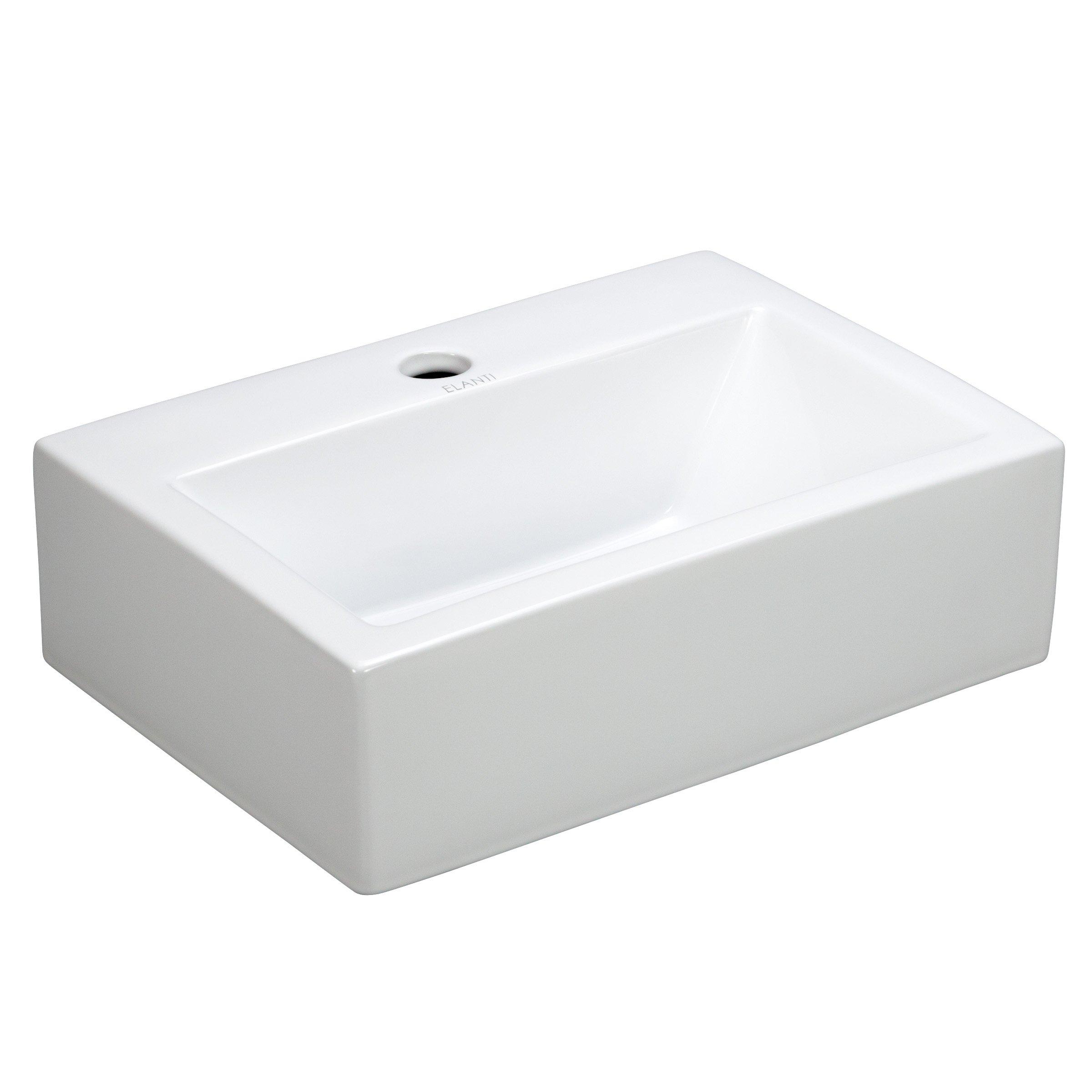 Elite Sinks EC9859 Porcelain Wall-Mounted Rectangle Sink, White