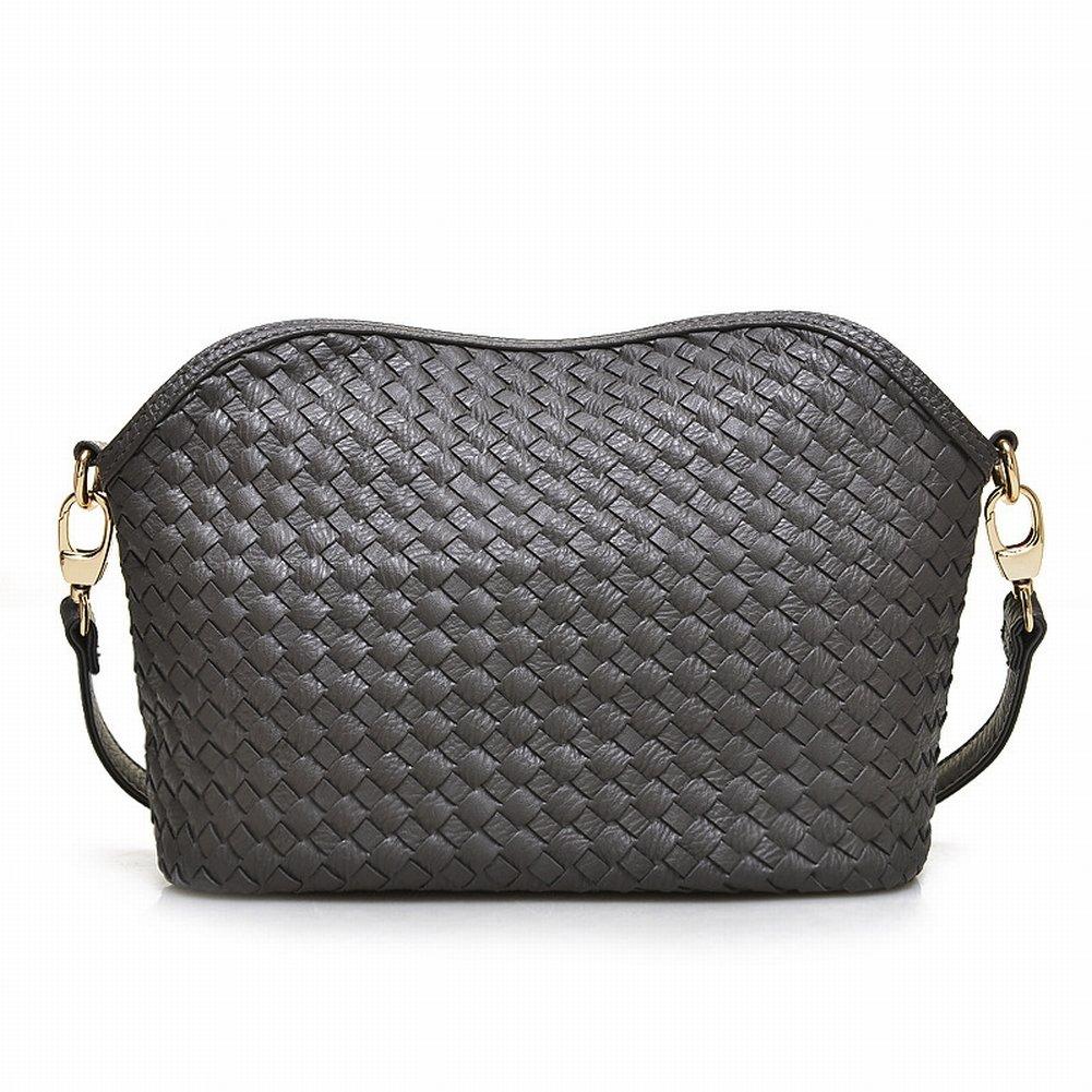 Weibliche Reine Farbe Reißverschluss Schnalle Handgewebte Schulter Messenger Bag , dunkelgrau
