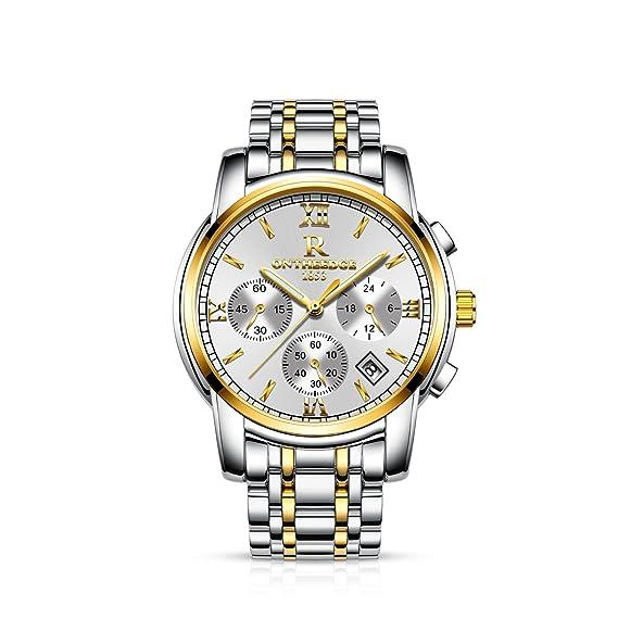 a37a82a38ab9 RORIOS Luxury Hombres Relojes de Pulsera Cuarzo Analógico Acero Inoxidable  Business Day Calendario Cronógrafo Timer Blanco