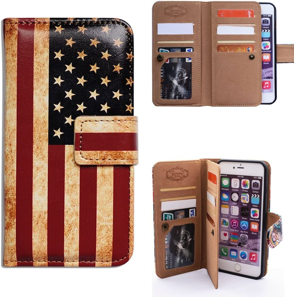 iPhone 6s Plus Wallet Case,iPhone 6 Plus Wallet Case, Bcov Retro American Flag Multifunctional Flip Leather Case Cover with Credit Card Slot ID Card Holder Wrist Strap for iPhone 6+/6S+