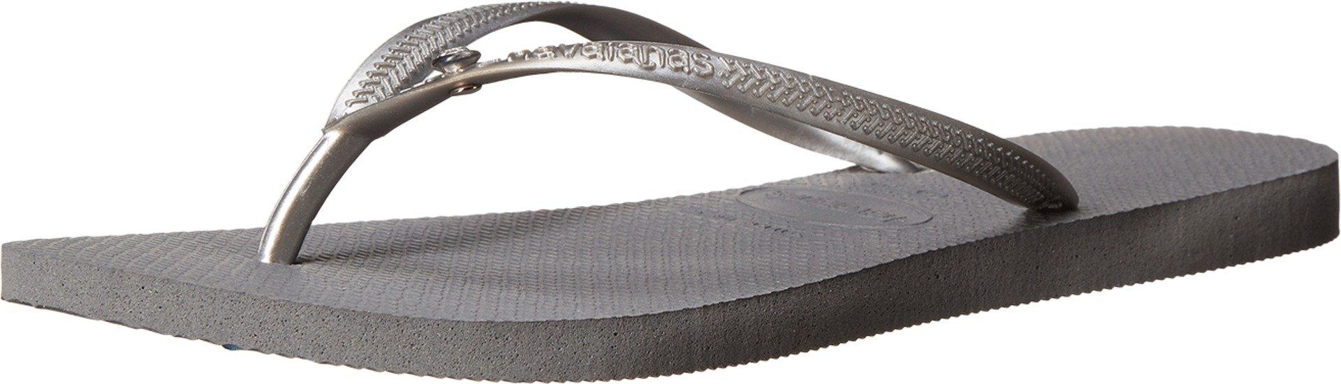 Havaianas Women's Slim Crystal Glamour SW Flip Flops Steel Grey Sandal 39/40 Brazil (US Men's 7/8, Women's 9/10) M