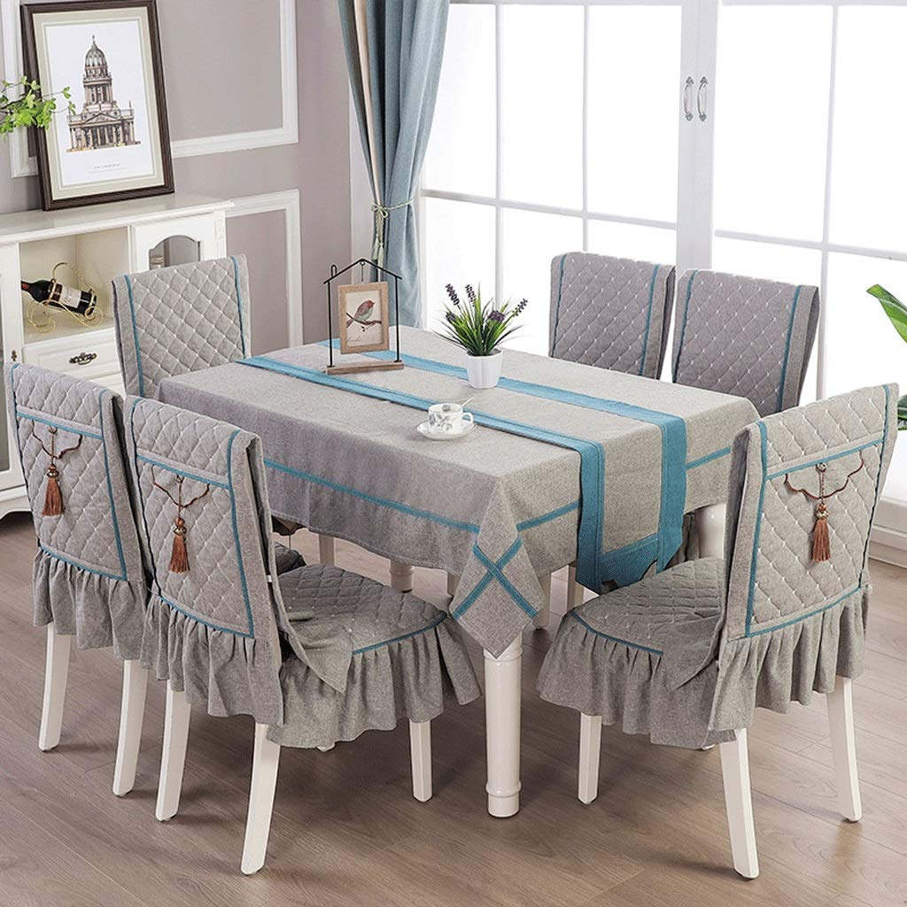 RFQL テーブルクロス、テーブルカバー テーブルクロスの家、正方形の長方形のテーブルクロス、ダイニングチェアカバー付き、4/6チェア用チェアクッション、4色 (色 : グレイ ぐれい, サイズ さいず : 4 chair cover+130*180cm) 4 chair cover+130*180cm グレイ ぐれい B07S6SW12L