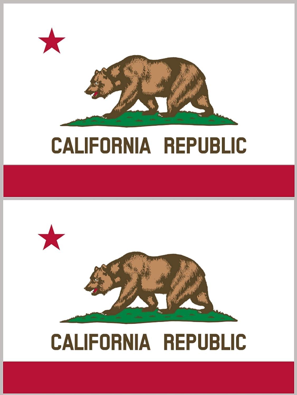 Wheezeway California Sticker Decal CA Flag Nor Cal Sticker 2 Pack Water bottles Car Laptop Bumper Bear Jeep Truck
