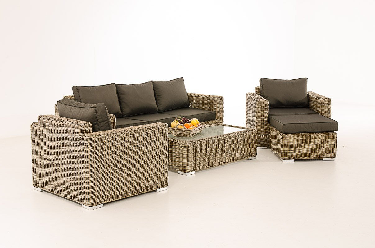 Mendler 3-1-1 Gartengarnitur CP053 Sitzgruppe Lounge-Garnitur Poly-Rattan ~ Kissen anthrazit, Natur