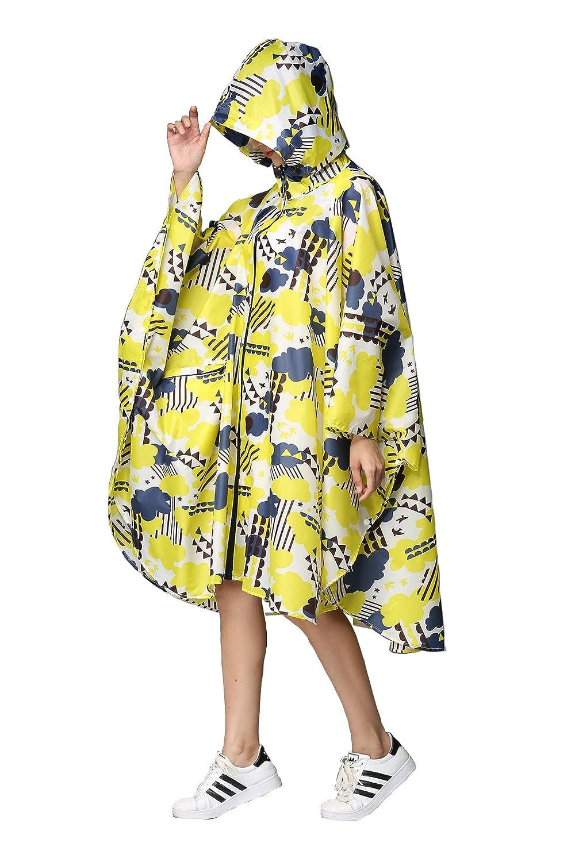Women's Stylish Rain Poncho Waterproof Rain Coat with Hood