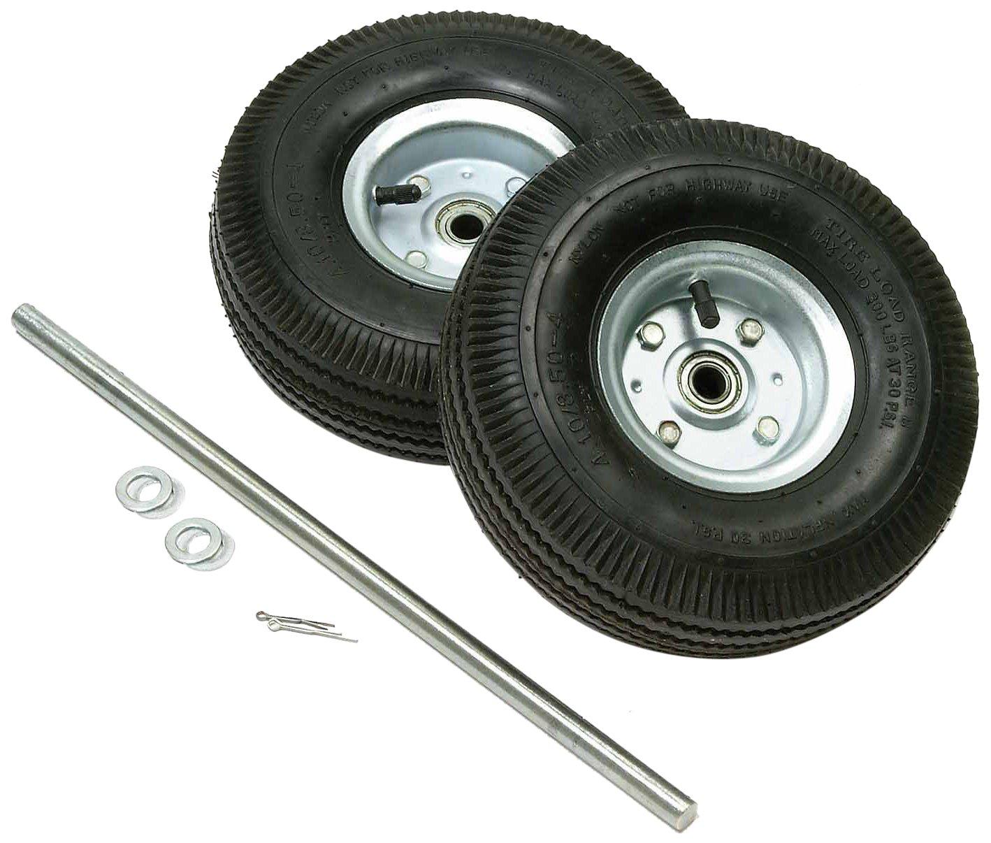 Nexel CA10HTN 10'' Pneumatic Wheels and Axle Kit (Set of 2),