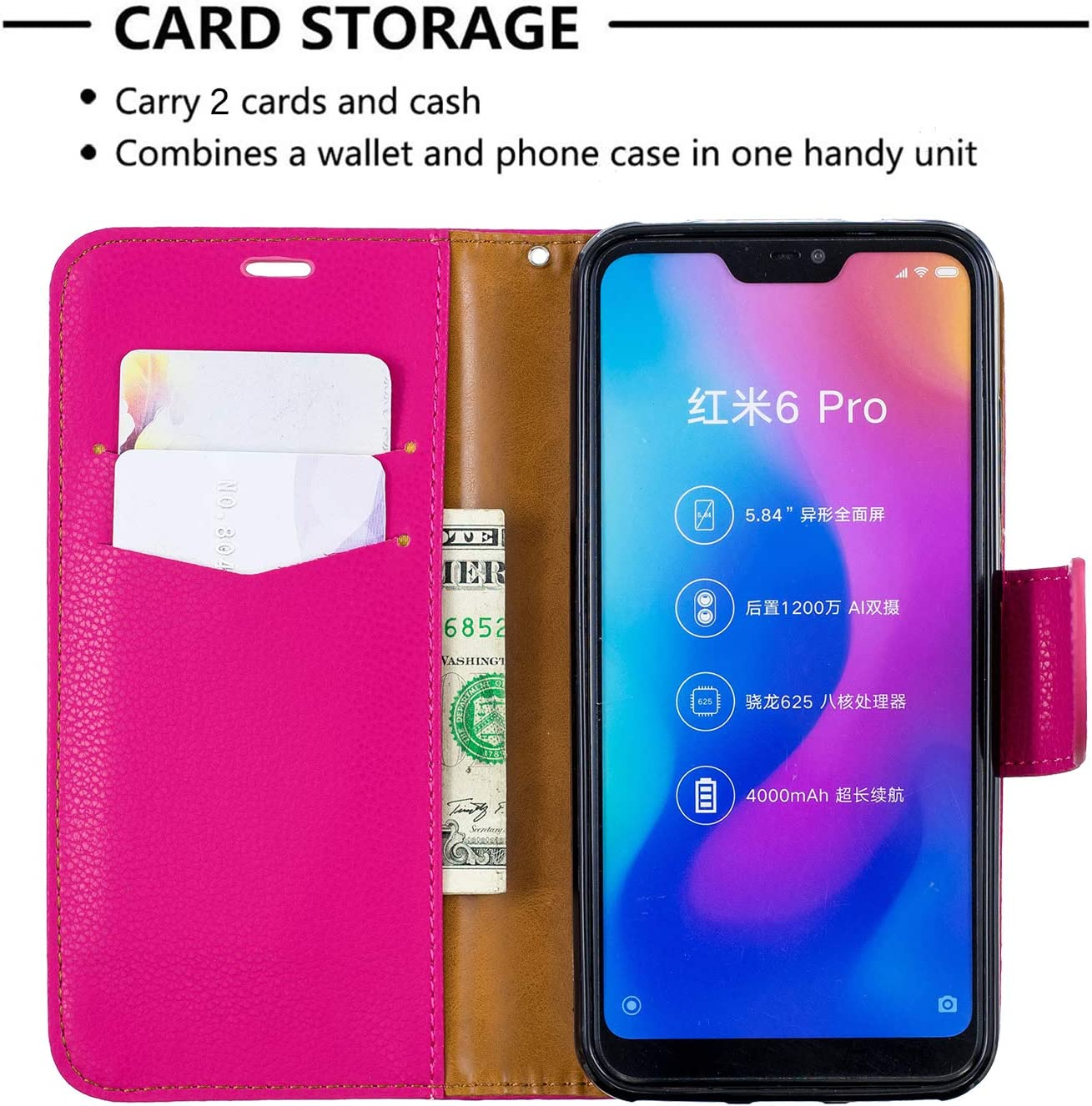 Xiaomi Redmi 6Pro LOBFE130381 Purple // Mi A2 Lite Case Lomogo Leather Wallet Case with Kickstand Card Holder Shockproof Flip Case Cover for Xiaomi Redmi 6 Pro