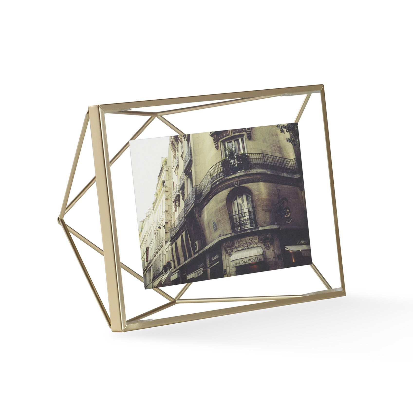 Umbra Prisma 4x6 Picture Frame – Floating Wall or Desk Photo Display for Pictures, Art, Illustrations, Graphic Text & More, Metal, Matte Brass