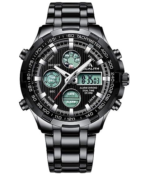 Relojes de Hombre Digital Relojes de Pulsera Militar Negro Deportivo Impermeable LED Grandes de Acero Inoxidable Relojes Hombre Multifuncion Alarma ...