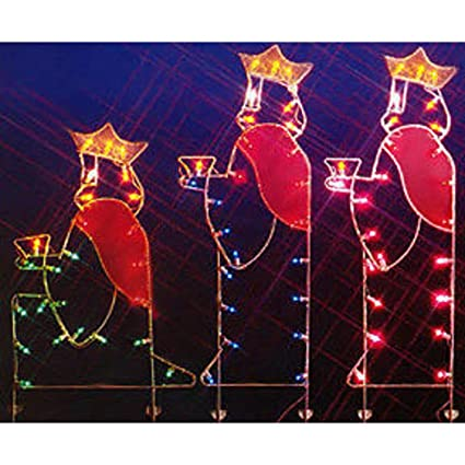 vickerman 66 three wisemen nativity silhouette lighted wire frame christmas - Wire Frame Outdoor Christmas Decorations