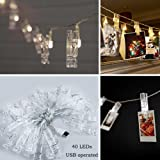 40 LEDs Hanging String Lights with Photo Display Clips for Bedroom Dorm Room Indoor Wall Decor, Romantic Warm White Christmas Fairy Lights, USB Powered