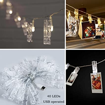 TIMEYARD 40 LEDs Hanging String Lights With Photo Display Clips For Bedroom  Dorm Room Indoor Wall