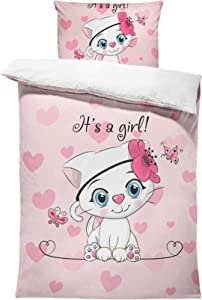SHINICHISTAR Twin Size Cat Bedding Set for Girls Pink Cats Comforter Set with 3D Printings for Kids Little Girl 3 Pieces Cartoon Drawing Bedding Sets Bedroom Decor