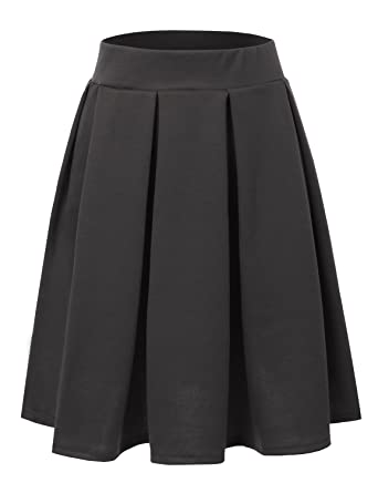 Doublju Elastic Waist Flare Pleated Skater Midi Skirt For Women ...