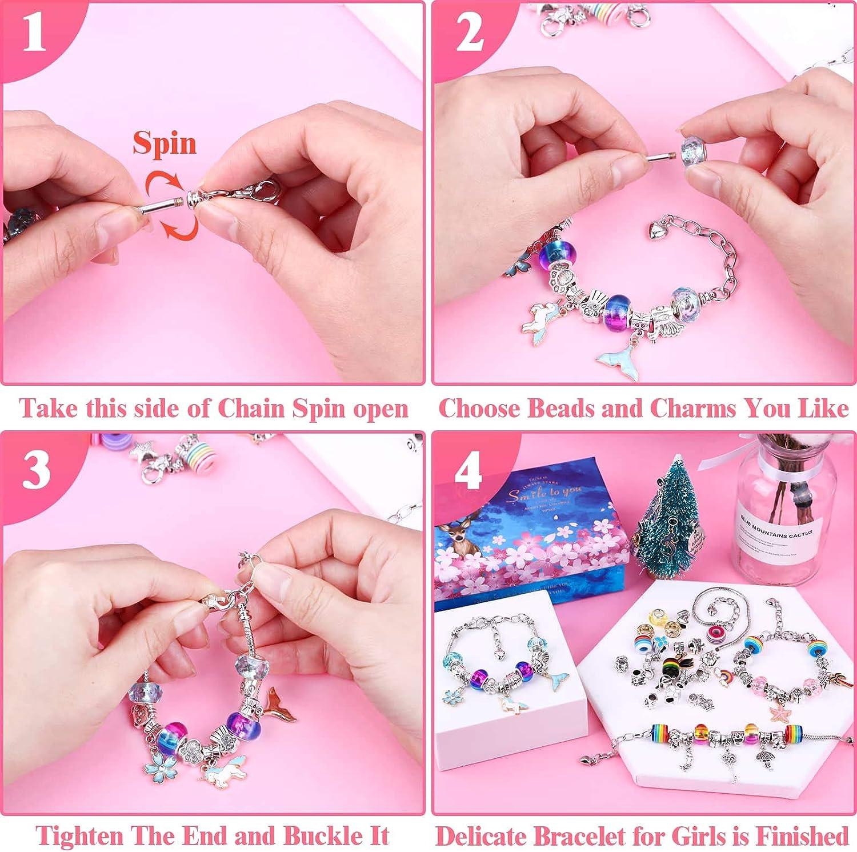 Beads Thrilez Charm Beads Bracelet Jewelry Kit with Bracelets 110 Pcs Charm Bracelets Making Kit for Girls Jewelry Charms Gift Set for Adults Kids Girls
